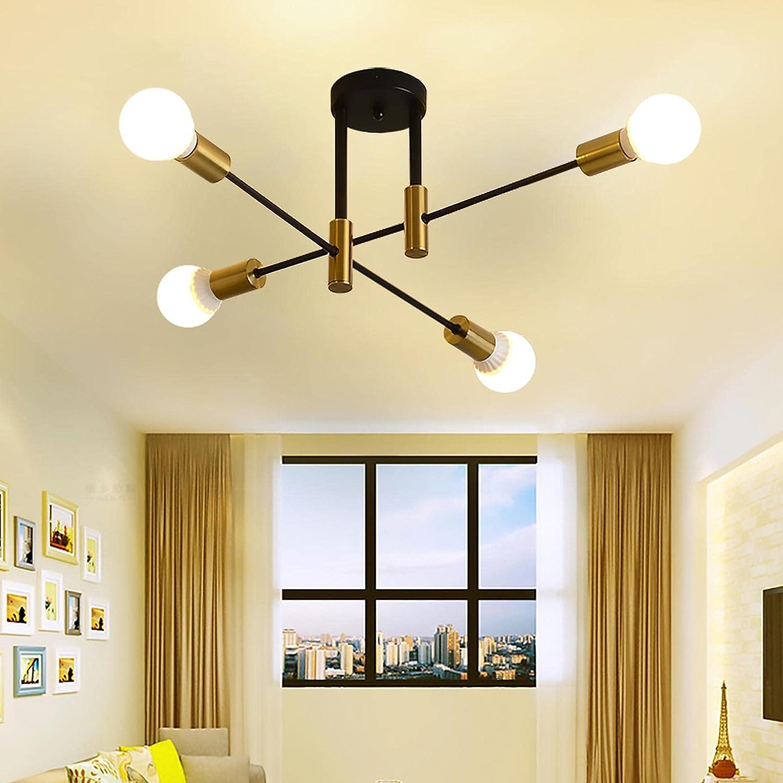 Sputnik Chandeliers Semi Flush Mount Ceiling Light Mid Century Modern Kitchen Sputnik Light Fixtures for Living Room Easy to Install Bedroom Chandelier (Black+Gold, 4-Lights)