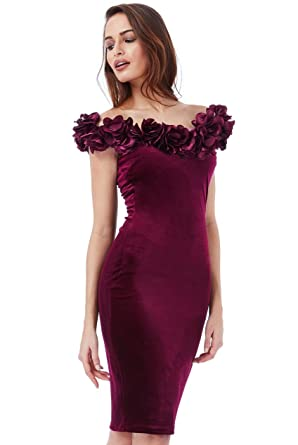 NEW WINE VELVET FLOWER DETAIL NECKLINE MIDI COCKTAIL PROM PARTY DRESS SIZE(8-14