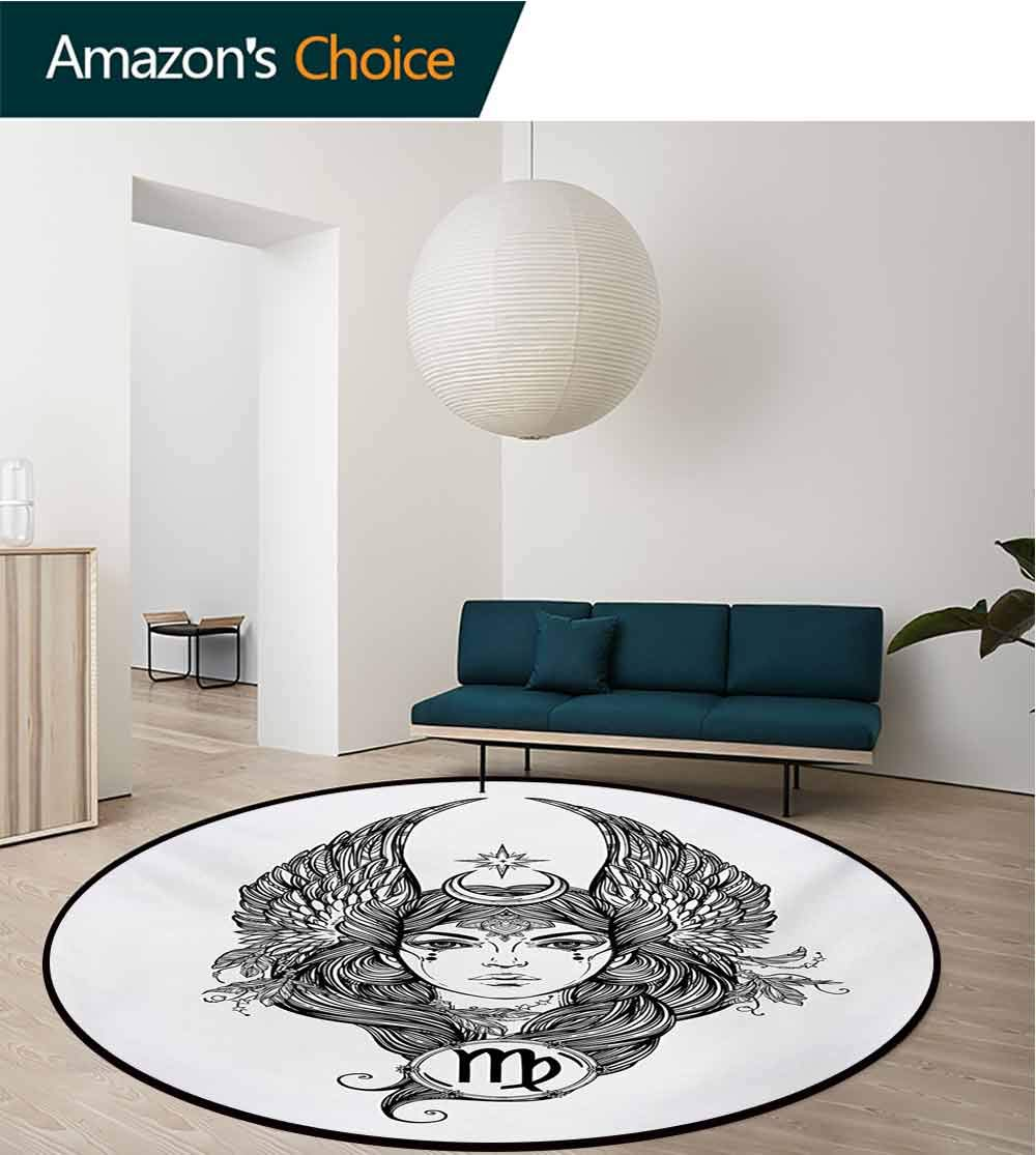 RUGSMAT Virgo Carpet Gray Round Area Rug,Black and White Monochrome Drawing of A Woman with Long Hair and Wings Horoscope Pattern Floor Seat Pad Home Decorative Indoor,Diameter-71 Inch