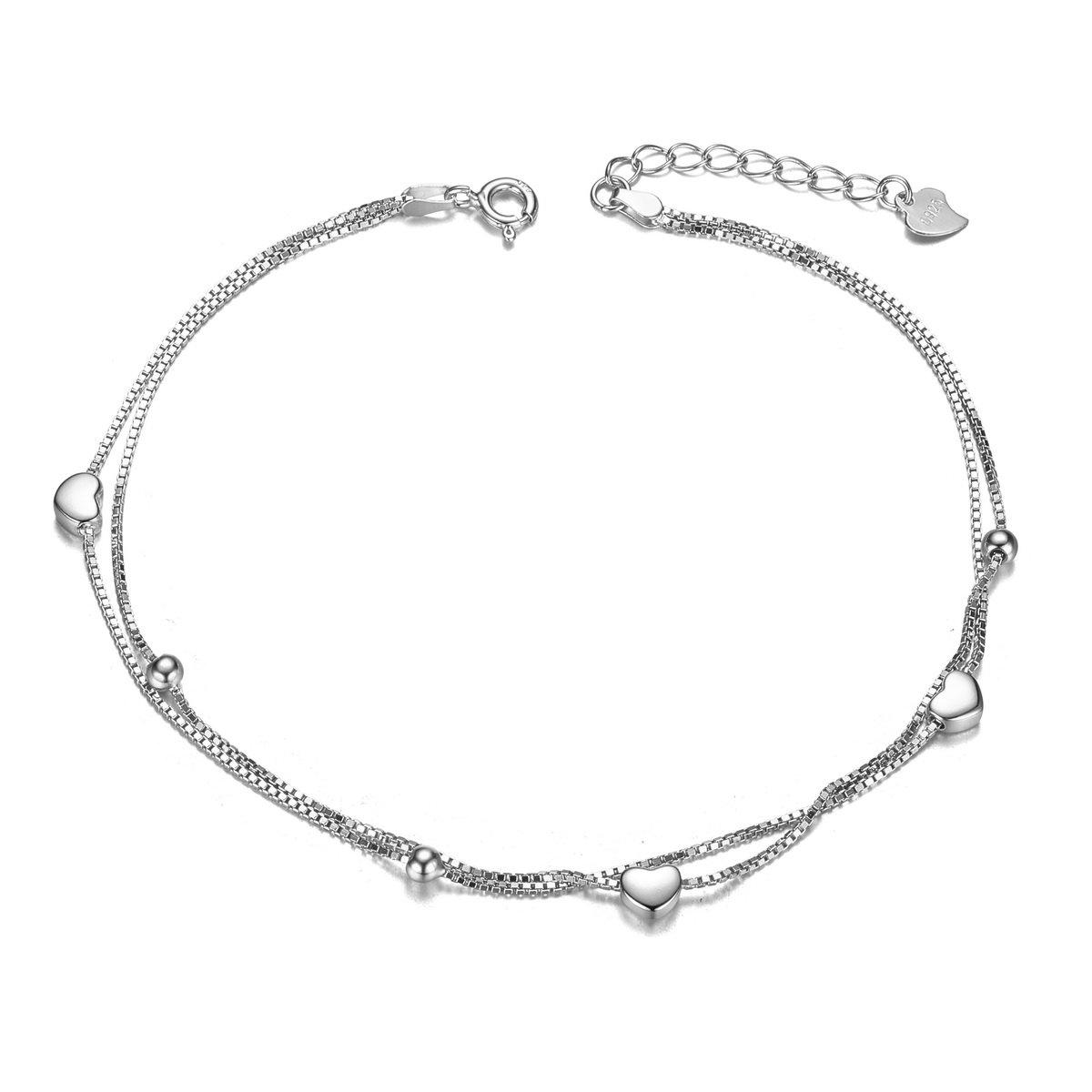 Platine 210mm Doubles Chaines avec Coeurs et Petites Perles SWEETIEE-Bracelet de Cheville en 925 Argent