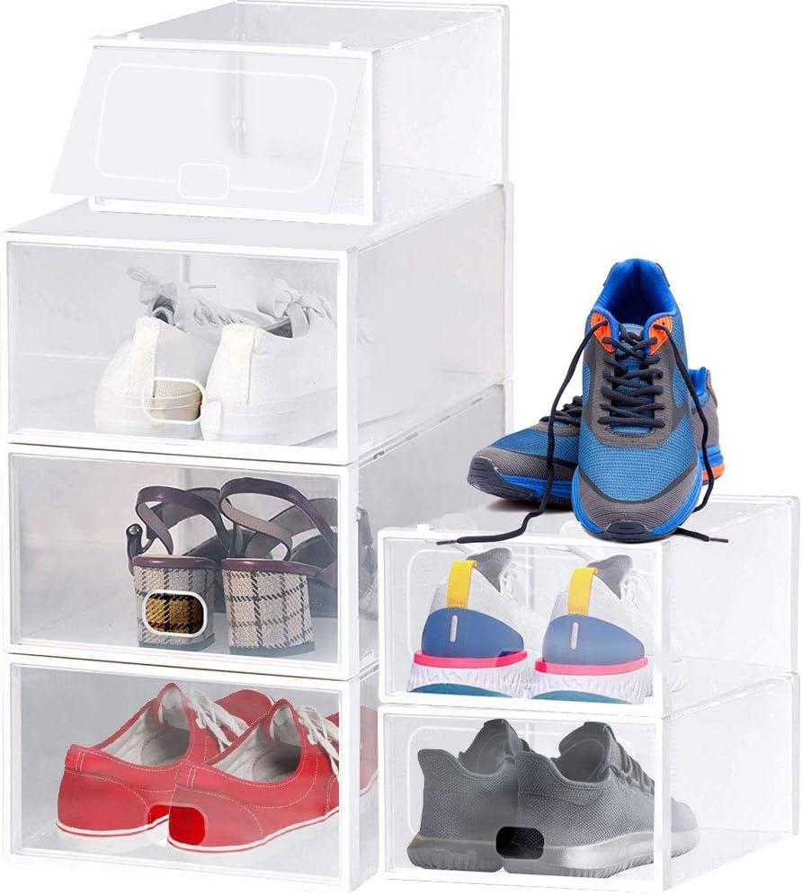 EMAGEREN 6pcs Cajas para Zapatos Cajas de Zapatos Transparentes Cajas de Zapatos Apilables Cajas para Zapatos Plastico Caja de Zapatos Plegable 2 Tamaño Organizador de Zapatos para Hombre y Mujere: Amazon.es: Hogar