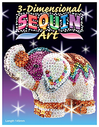 Sequin Art 3D, Elephant, Sparkling Arts and Crafts  3D Art Kit; Creative Crafts for Adults and Kids (Elephant Craft Kids)