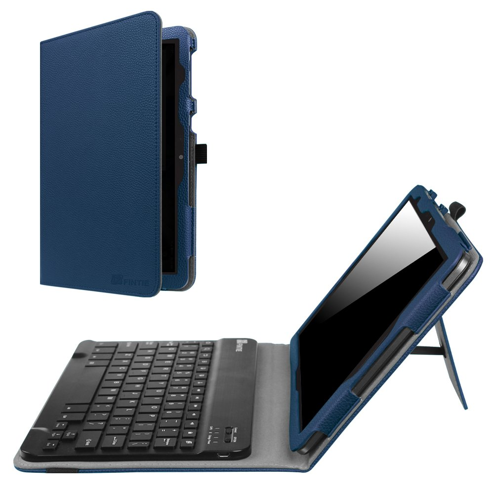 Fintie AT&T Primetime Keyboard Case - Premium PU Leather Folio Cover with Removable Wireless Bluetooth Keyboard for 2017 10 Inch ATT Primetime/ZTE K92 Primetime 4G LTE Tablet, Navy