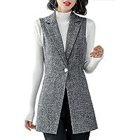 Kedera Women's Long Sleeveless Duster Trench Vest Casual Lapel Blazer Jacket