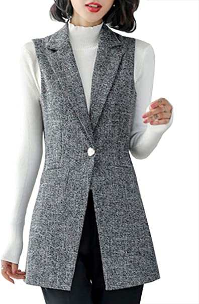 Dealwell Womens Sleeveless Vest Casual Open Front Cardigan Blazer with Pockets