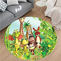 Nalahome Modern Flannel Microfiber Non-Slip Machine Washable Round Area Rug-or Cute Animals Giraffe Tiger Snake Dinosaur Hippo Monkey in Jungle Kids Baby Theme Green area rugs Home Decor-Round 47