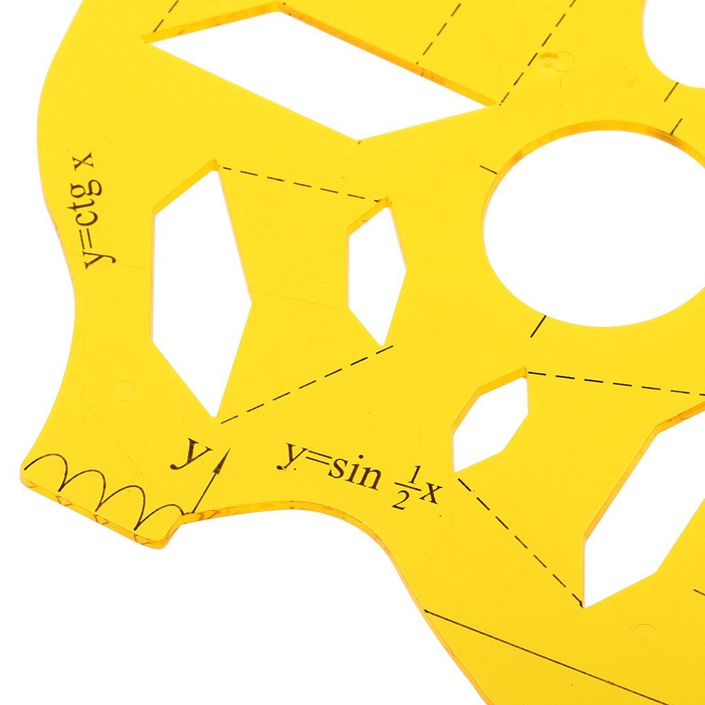 Magideal plastica studenti Matematica Disegno Goniometro Modello Righello sagome trasparente Farbe3 24.6 x 15cm