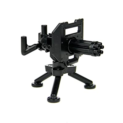 Custom Minigun with Tripod Mount Machine Gun Designed for Brick Minifigures: Toys & Games