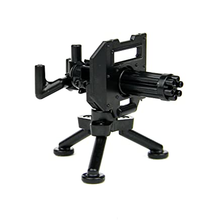 Custom Minigun With Tripod Mount Machine Gun Designed For Brick Minifigures