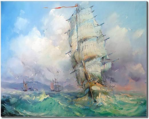 Modern Classical Landscape Ship Sailing Oil Painting Canvas Print Wall Art Decor