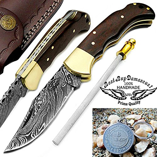 "Rose Wood 6.5"" Handmade Damascus Steel Brass Bloster plus Sharpening Rod Folding Pocket Knife Back Lock 100% Prime Quality"