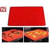 LALANG Microwave oven silicone Pyramid baking mat and roast meat mat (Red)