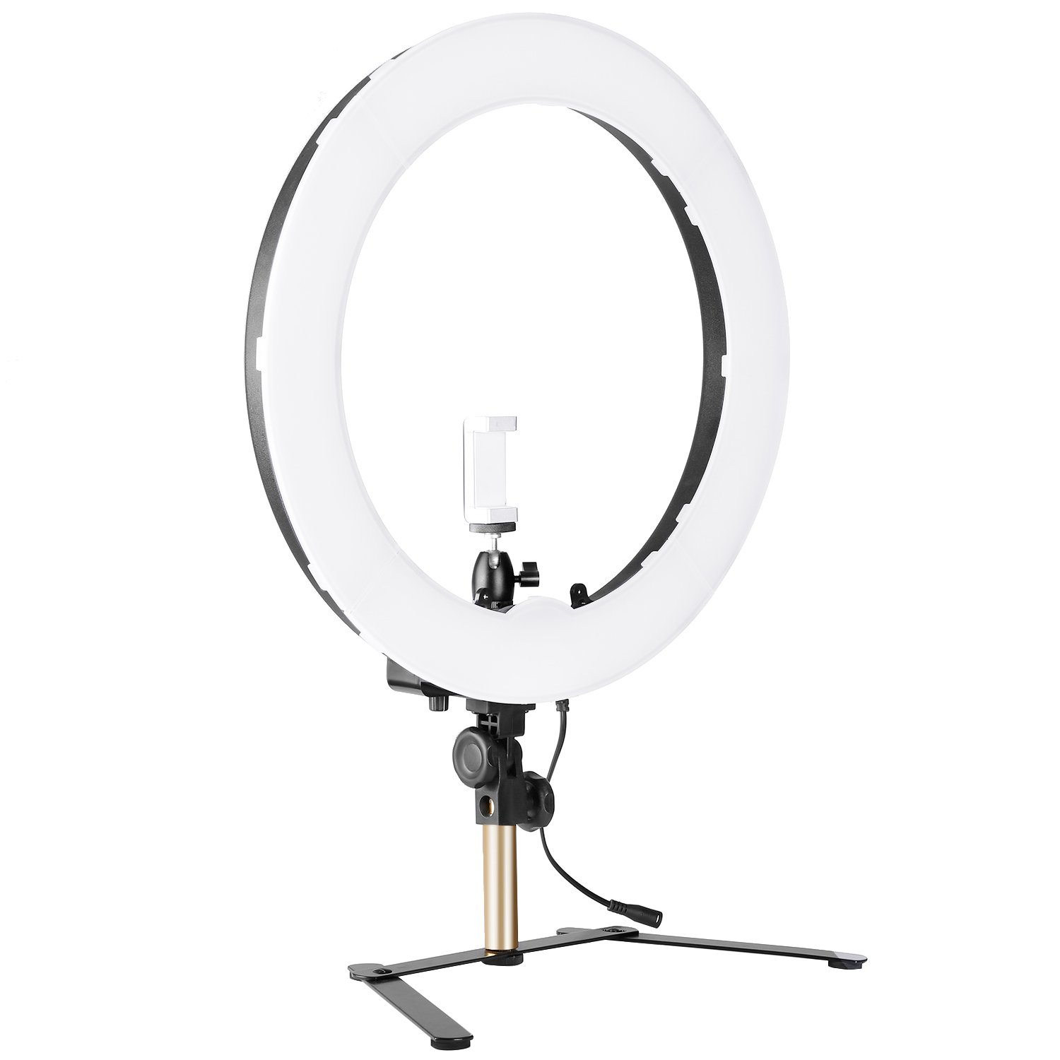 Neewer 14-inch Outer Dimmable Bi-color SMD LED Ring Light Lighting Kit for Smartphone Video Shooting with (1)Light Stand, (1)Ball Head, (1)Phone Holder, (2)Li-ion Battery, (1)Charger, (1)Bluetooth Receiver 10092398