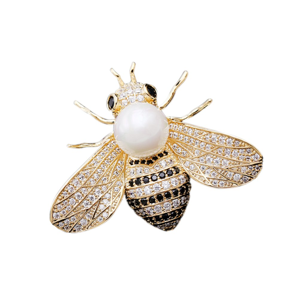 SHANLIHUA Pearl Cute Bee Brooch Pin White Gold Worn with Clothes Hats and Bags.