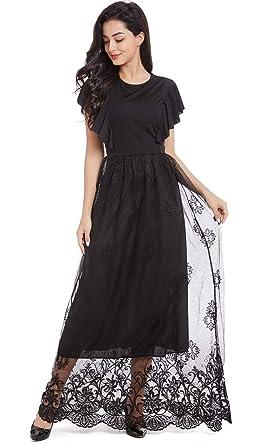 4f36ee6b085 Queen Diana Floral Dentelle Ébouriffer Longue Maxi Soir Robe sans Manches  Fête Robe pour Femme