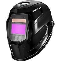 DEKOPRO Welding Helmet Solar Powered Auto Darkening Hood with Adjustable Shade Range 4/9-13 for Mig Tig Arc Welder Mask (Bright Black)