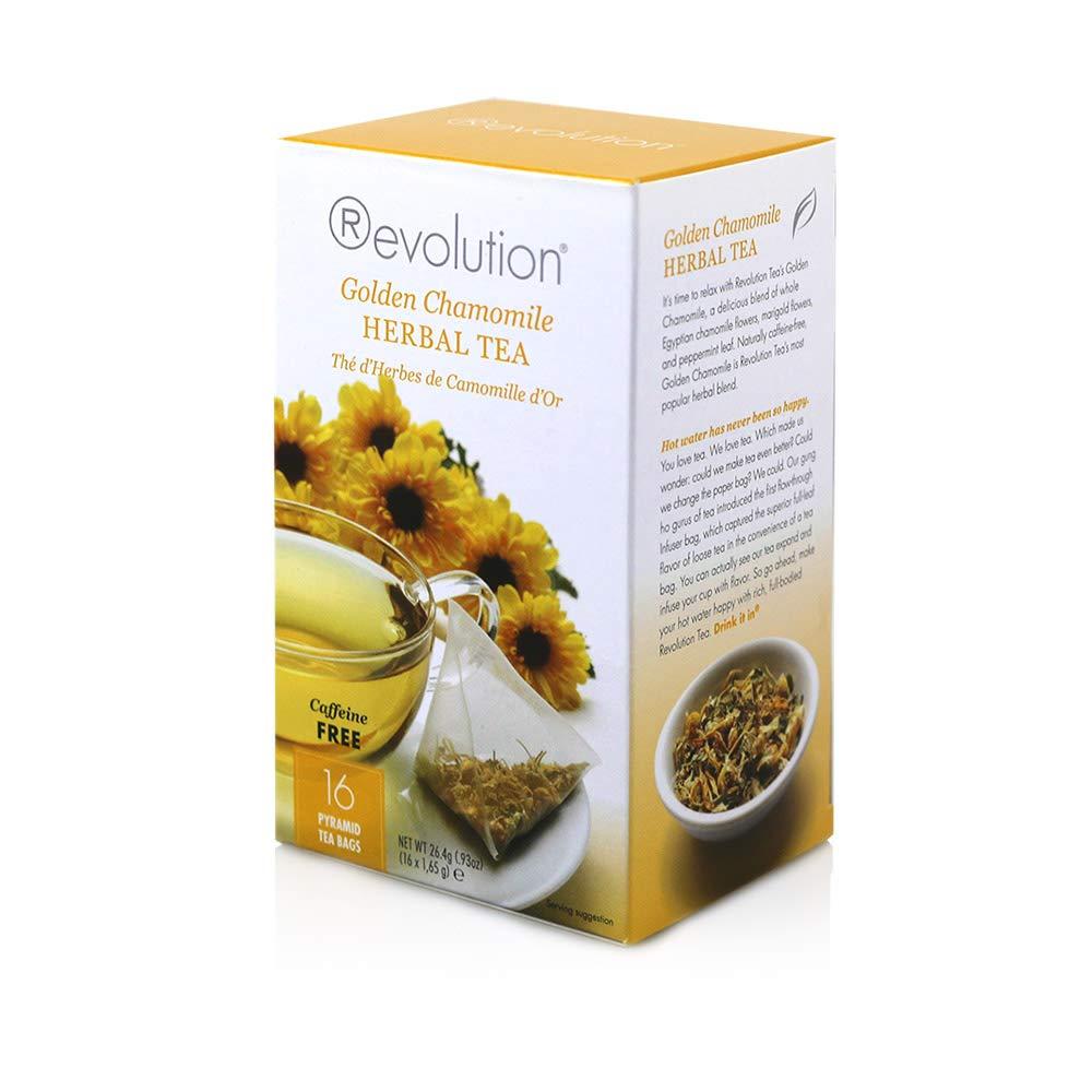 Revolution Tea Herbal Tea, Golden Chamomile, 16 Count (Pack of 6)