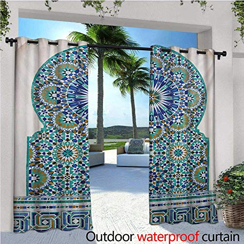 homehot Moroccan Exterior/Outside Curtains Ceramic Tile Antique East Pattern Heritage Architecture Print for Patio Light Block Heat Out Water Proof Drape W96 x L108 Blue Turquoise Pale ()