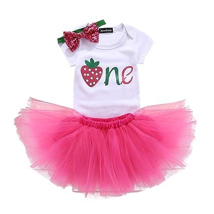 2cd00d9a9bfc Gagacity Infantil 3pcs bebé recién nacido muchachas del niño del 1er / 2o  cumpleaños mameluco del