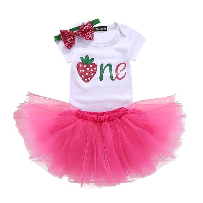 Gagacity Infantil 3pcs bebé recién nacido muchachas del niño del 1er / 2o cumpleaños mameluco del vestido del tutú de la falda de la princesa para ...