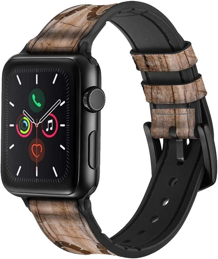 CA0239 Goat Wood Graphic Printed Leather & Silicone Smart Watch Band Strap for Apple Watch iWatch Size 38mm/40mm