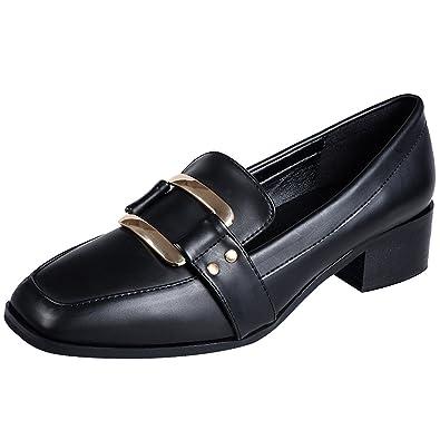 Jamron Mujeres Elegante Punta Cuadrada Talón de Bloque Charol Correa Monje Mocasines Señoras Oficina Zapatos de La Corte: Amazon.es: Zapatos y complementos