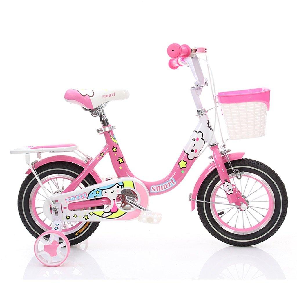 子供の自転車プリンセスモデルダブルガールズ3-5歳14インチのベビー漫画バイク、ピンク B07BXDSLHJ