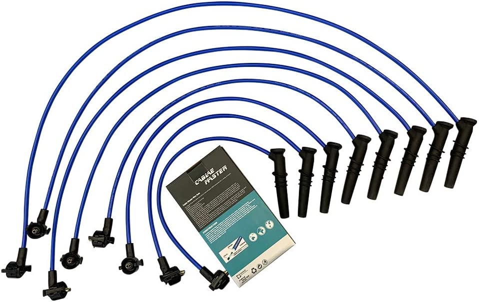 Cable Master Spark Plug Wires Compatible with Ford Crown Victoria E-150 Econoline E-150 Econoline Club Wagon Expedition F-150 F-250 Lincoln Town Car Mercury Grand Marquis V8 96-99 8MM Wire