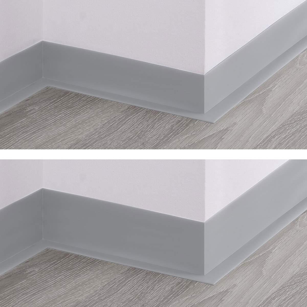 5 Meter HOLZBRINK Weichsockelleiste Schwarz Knickleiste ohne Klebestreifen 70x20mm Material: PVC