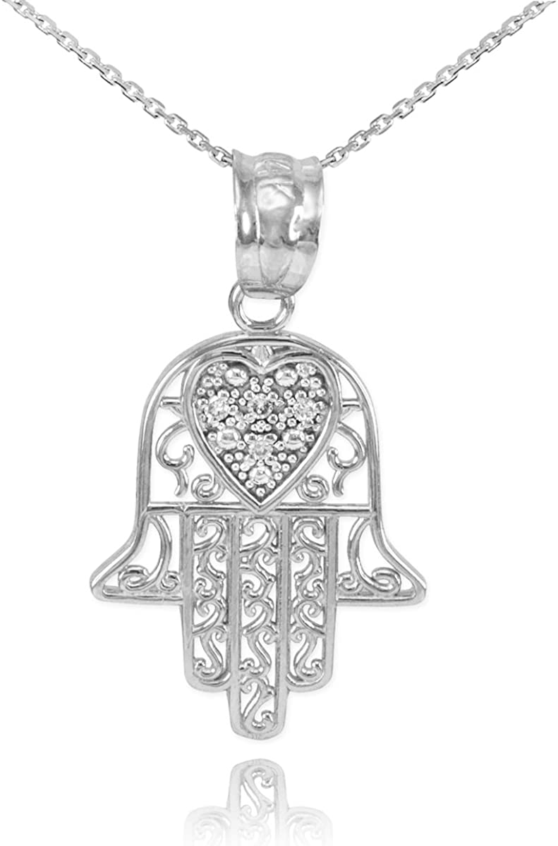 Medium Size Hamsa Hand Pendant in 14k SOLID White Gold