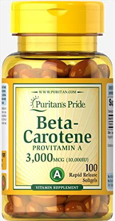 Provitamina A Beta Caroteno 3000 mcg/ 10000 IU 100 perlas: Amazon ...