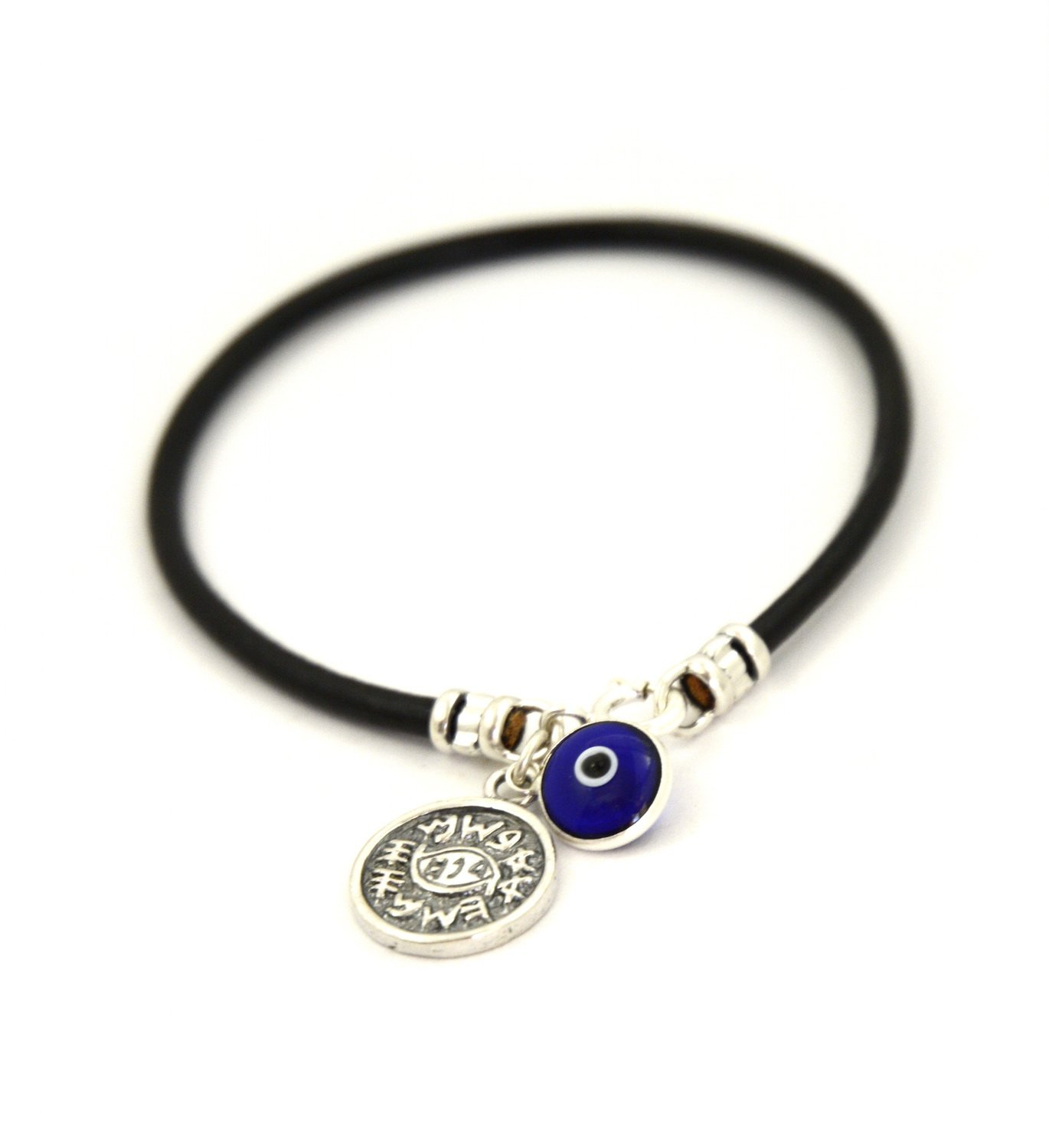 MIZZE Made for Luck Protection Solomon Seal Coin Charm & Blue Evil Eye Charm Bracelet Men - Size 8 Inch