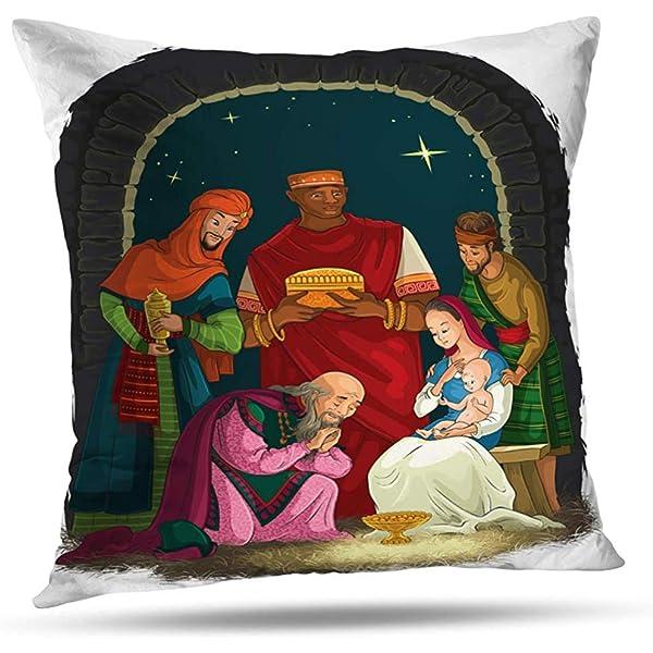 CAPRILO Lote 4 Cojines Decorativos Diseño Reyes Magos.Textil ...