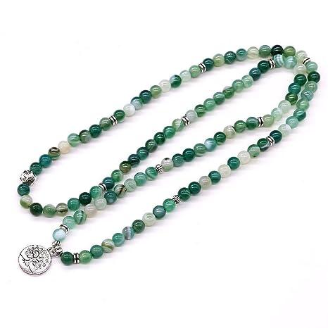 QIANJY Green Onyx Stone Healing Pulsera Y Collar Yoga Prayer ...