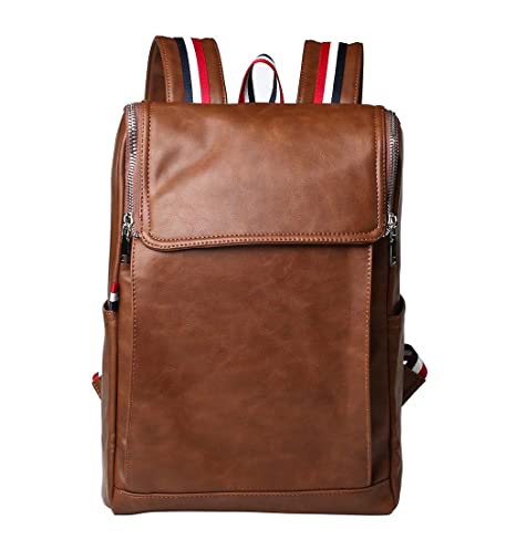 38d4df022b Image Unavailable. Image not available for. Color  Men s Vintage Travel PU Leather  Backpack Shoulder School Bag Laptop Rucksack