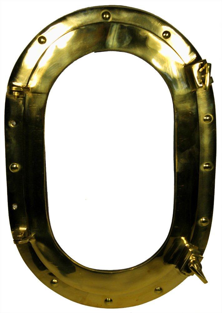 15 X 10 Oval Porthole Window: Brass Nautical Ship Decor