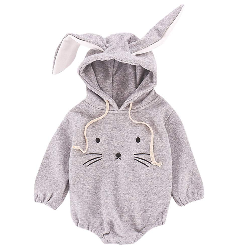 Baby Rompers Waymine Infant Boy Girl Cartoon Rabbit Ears Hoodie Hair Ball Jumpsuit