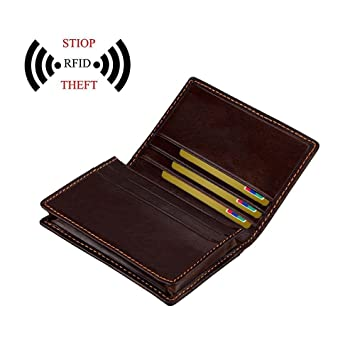 AOLVO - Cartera de Bloqueo RFID de Piel con Bloqueo RFID para Tarjetas de crédito,