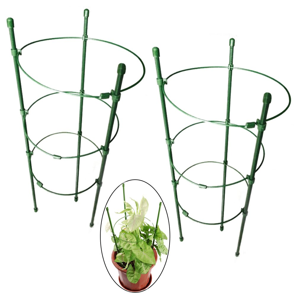 PERTTY Vine Trellis Support 17.7'' Flowers Plants Cage Triple Plastic Pillar with Iron Rings Vine Plants Holder Stand Small Pot Plant Trellis for Home Garden Balcony(Pack of 2)