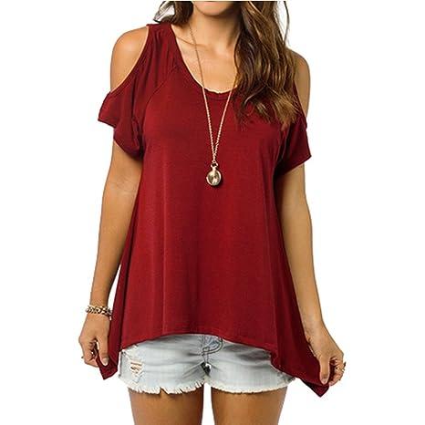 West See Damen V-Ausschnitt Schulterfrei Bluse Shirt Tunika Tops Loose  Oversize: Amazon.de: Bekleidung