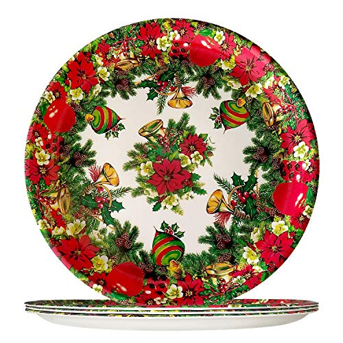 (4 Piece Christmas Melamine Plates - Vintage Reusable Party Tableware Round Dinner Plates, 11 inch Serving Plates in Christmas Flowers Red Poinsettia Shatter-Proof and Chip-Resistant, Gift Giving)