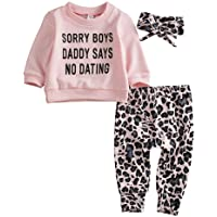 Madjtlqy Newborn Baby Girls Clothes Daddy Saying Top Printed T-Shirt Leopard Pants+Headband Sweatshirt Outfit Set