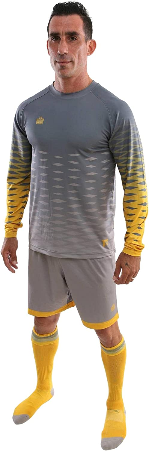 Admiral Zulu Shirt Short & Socks Package, Silver/Gold, Youth Large