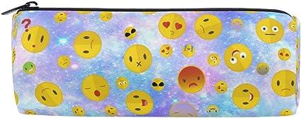 Wamika - Estuche para lápices, diseño de Emoji, color rosa y azul: Amazon.es: Oficina y papelería
