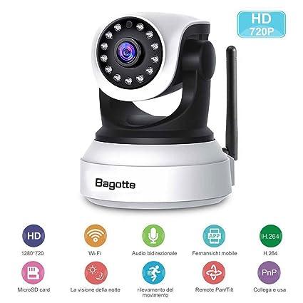 High Quality Telecamera Di Sorveglianza,Bagotte IP Camera 720P Wifi P2P Pan/Tilt  Videocamera Di Sicurezza