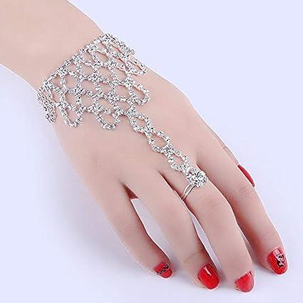 79bae4840a CTKcom Hand Bracelet Manchette Crystal Bracelets Rhinestone Hand Harness Bracelet  Bangle Slave Chain Link Finger Ring