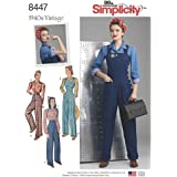 Simplicity Pattern 8447 U5 Misses' 1940s Vintage Pants, Overalls and Blouses, Size 16-24