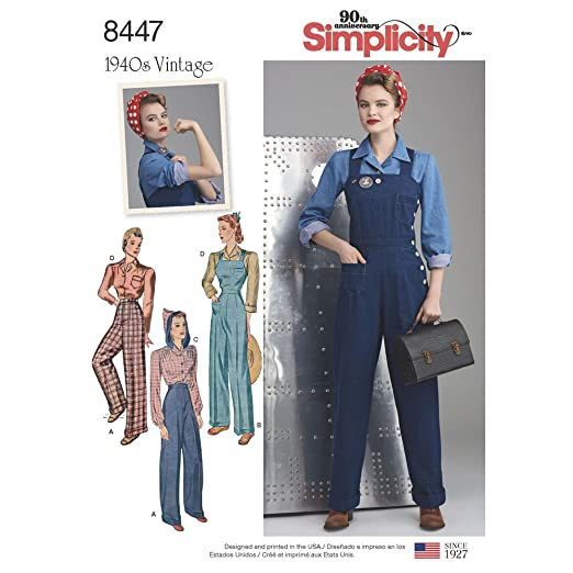 1940s Sewing Patterns – Dresses, Overalls, Lingerie etc Simplicity Pattern 8447 U5 Misses 1940s Vintage Pants Overalls and Blouses Size 16-24 $14.47 AT vintagedancer.com