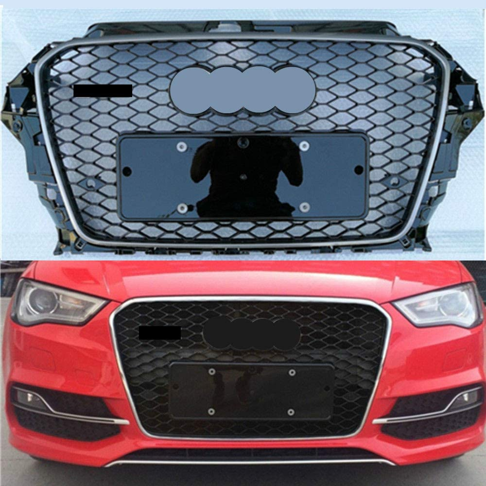 For Audi A3 S3 8V 2013-2016 Frame FOR RS3 Style Front Bumper Mesh Grille Grill