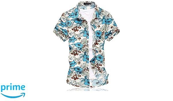 3cf37236a89 Para hombre Hawaiian Floral Manga Corta Camisas - Vacaciones de natación  tops con forro de malla, Hombre, color 661blue, tamaño: Amazon.es: Ropa y  ...